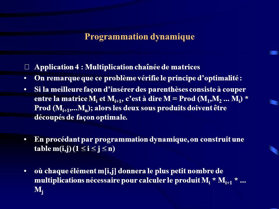 Programmation dynamique Application 4 : Multiplication chaînée de matrices On remarque que ce problème vérifie le principe doptimalité : Si la meille