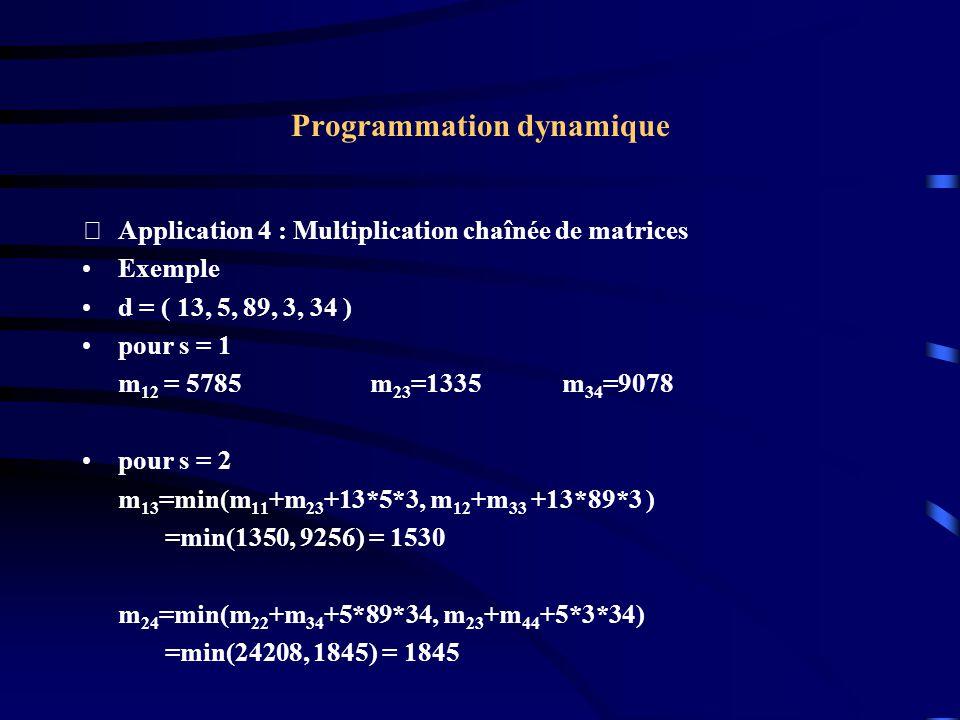 Programmation dynamique Application 4 : Multiplication chaînée de matrices Exemple d = ( 13, 5, 89, 3, 34 ) pour s = 1 m 12 = 5785m 23 =1335m 34 =907