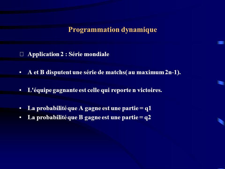 Programmation dynamique Application 2 : Série mondiale A et B disputent une série de matchs( au maximum 2n-1). L'équipe gagnante est celle qui report