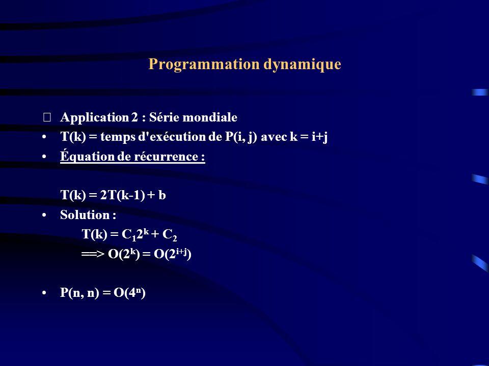 Programmation dynamique Application 2 : Série mondiale T(k) = temps d'exécution de P(i, j) avec k = i+j Équation de récurrence : T(k) = 2T(k-1) + b S