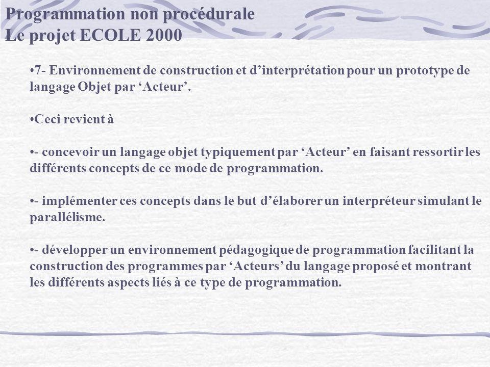 Programmation non procédurale Le projet ECOLE 2000 7- Environnement de construction et dinterprétation pour un prototype de langage Objet par Acteur.