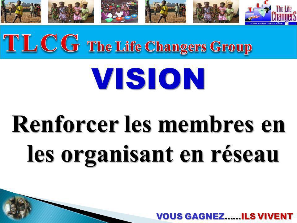 VOUS GAGNEZ……ILS VIVENT VISION Renforcer les membres en les organisant en réseau