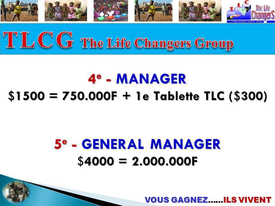 4 e - MANAGER $1500 = 750.000F + 1e Tablette TLC ($300) 5 e - GENERAL MANAGER 4000 = 2.000.000F $4000 = 2.000.000F VOUS GAGNEZ……ILS VIVENT