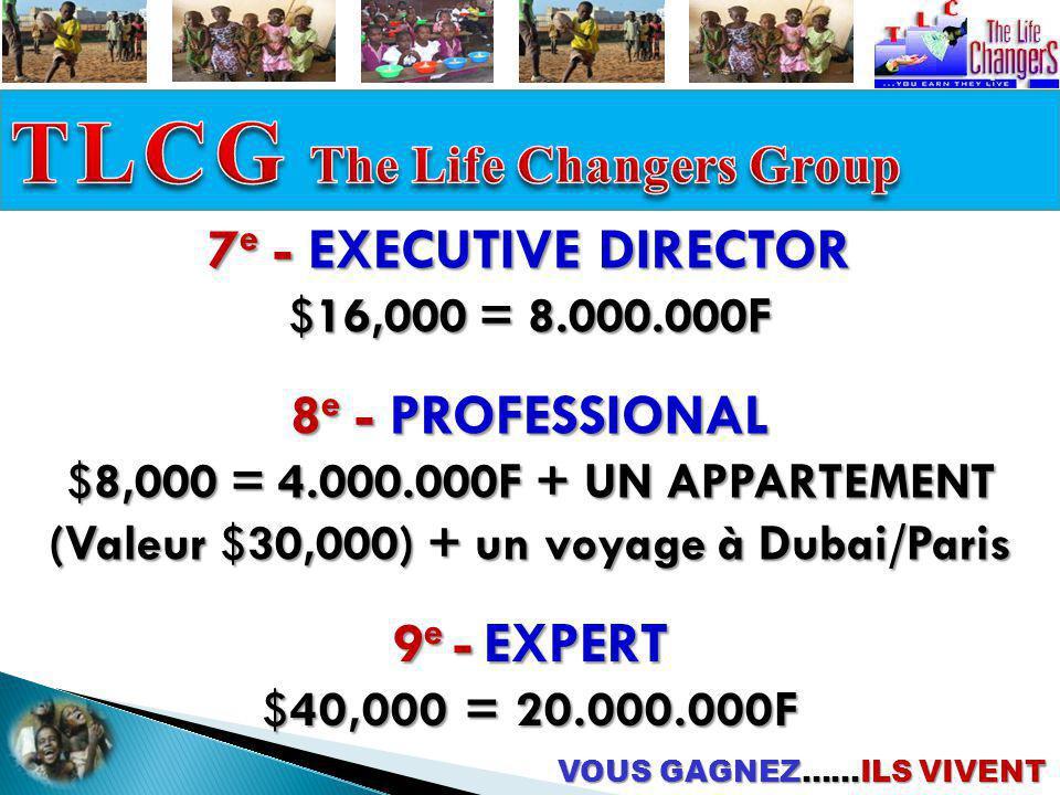 9 e - EXPERT $40,000 = 20.000.000F 8 e - PROFESSIONAL $8,000 = 4.000.000F + UN APPARTEMENT (Valeur $30,000) + un voyage à Dubai/Paris VOUS GAGNEZ……ILS
