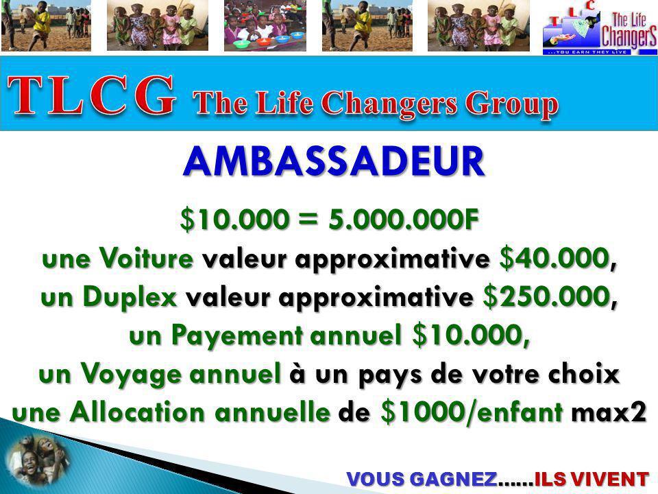 AMBASSADEUR $10.000 = 5.000.000F une Voiture valeur approximative $40.000, un Duplex valeur approximative $250.000, un Payement annuel $10.000, un Voy