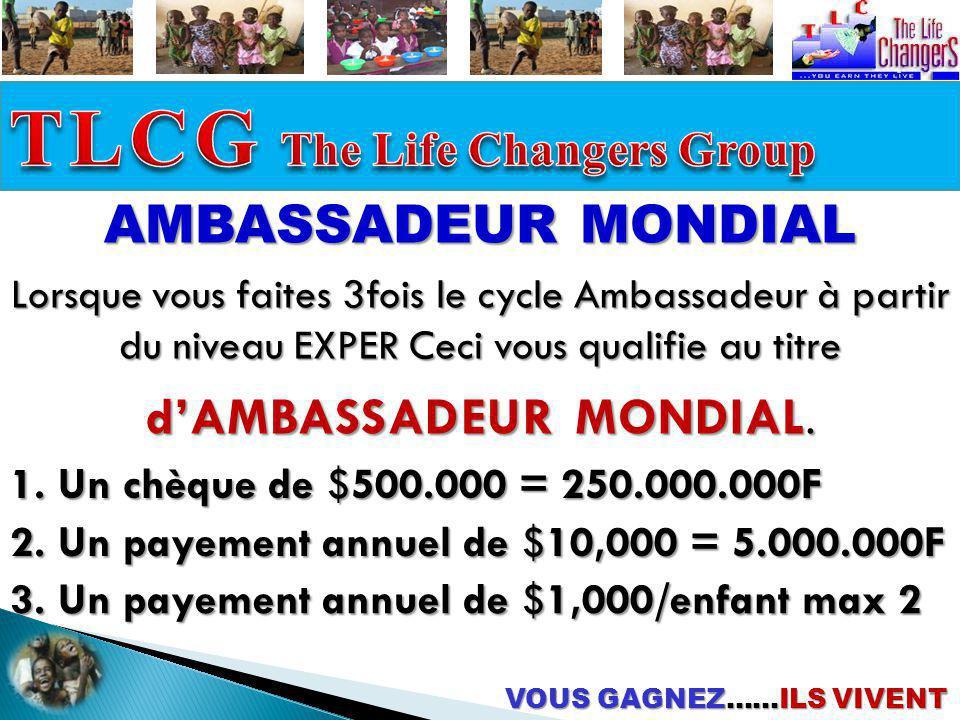 VOUS GAGNEZ……ILS VIVENT AMBASSADEUR MONDIAL 1. Un chèque de $500.000 = 250.000.000F 2. Un payement annuel de $10,000 = 5.000.000F 3. Un payement annue