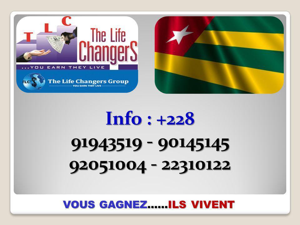 Info : +228 91943519 - 90145145 92051004 - 22310122 VOUS GAGNEZ……ILS VIVENT