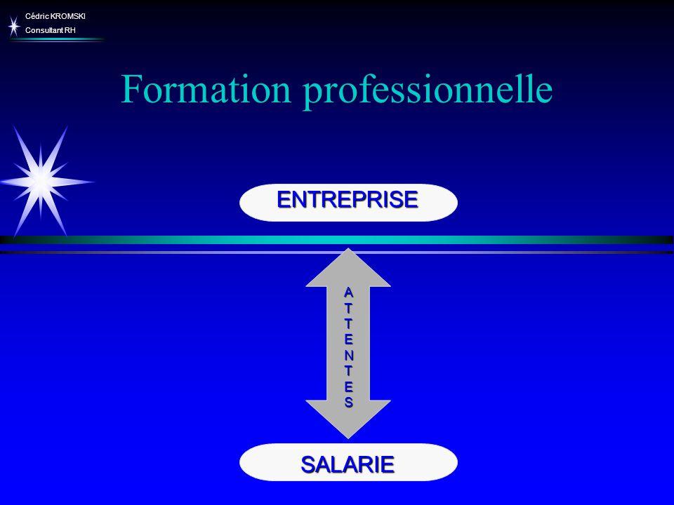 Cédric KROMSKI Consultant RH Formation professionnelle Bilan de compétences Droit individuel de formation : Accord Salarié/ Employeur Accord Salarié/ Employeur VAE Type de formation