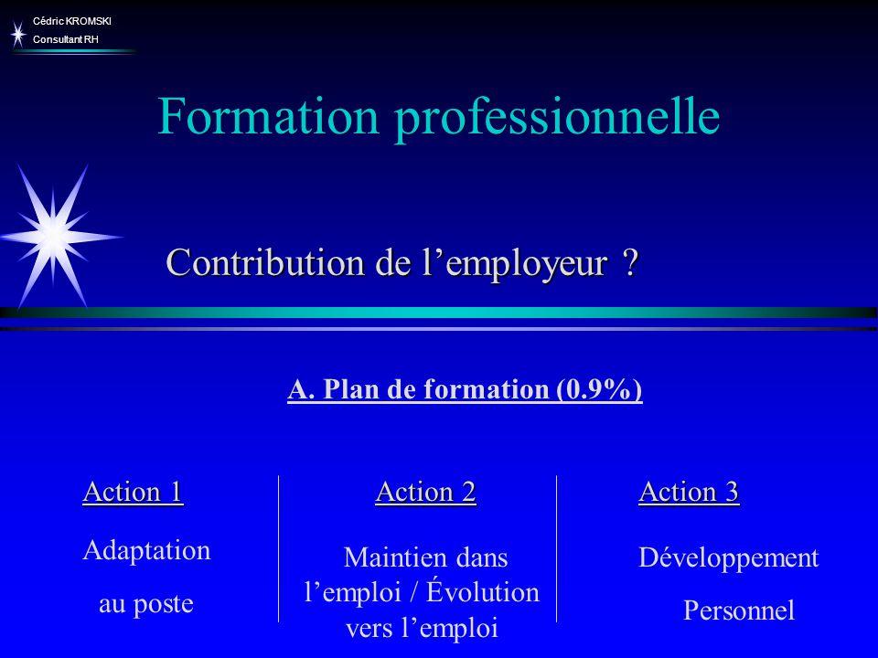 Cédric KROMSKI Consultant RH Formation professionnelle A. Plan de formation (0.9%) Action 1 Action 2 Action 3 Adaptation au poste Maintien dans lemplo