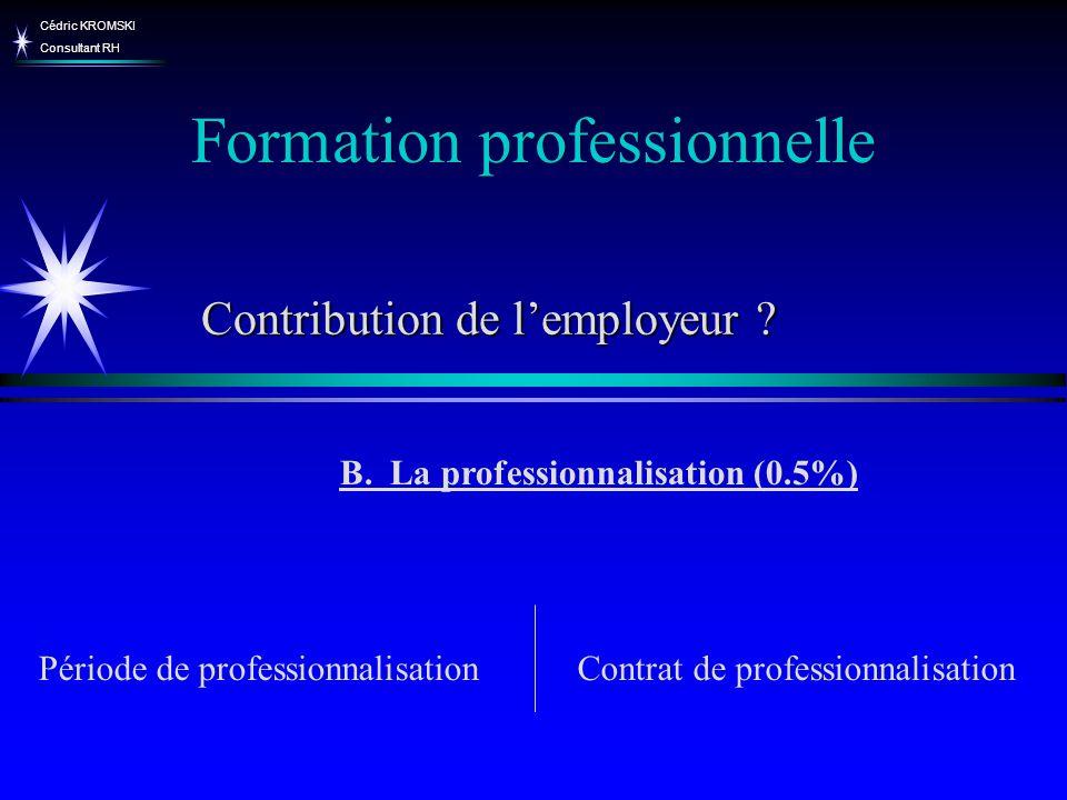 Cédric KROMSKI Consultant RH Formation professionnelle B. La professionnalisation (0.5%) Période de professionnalisationContrat de professionnalisatio