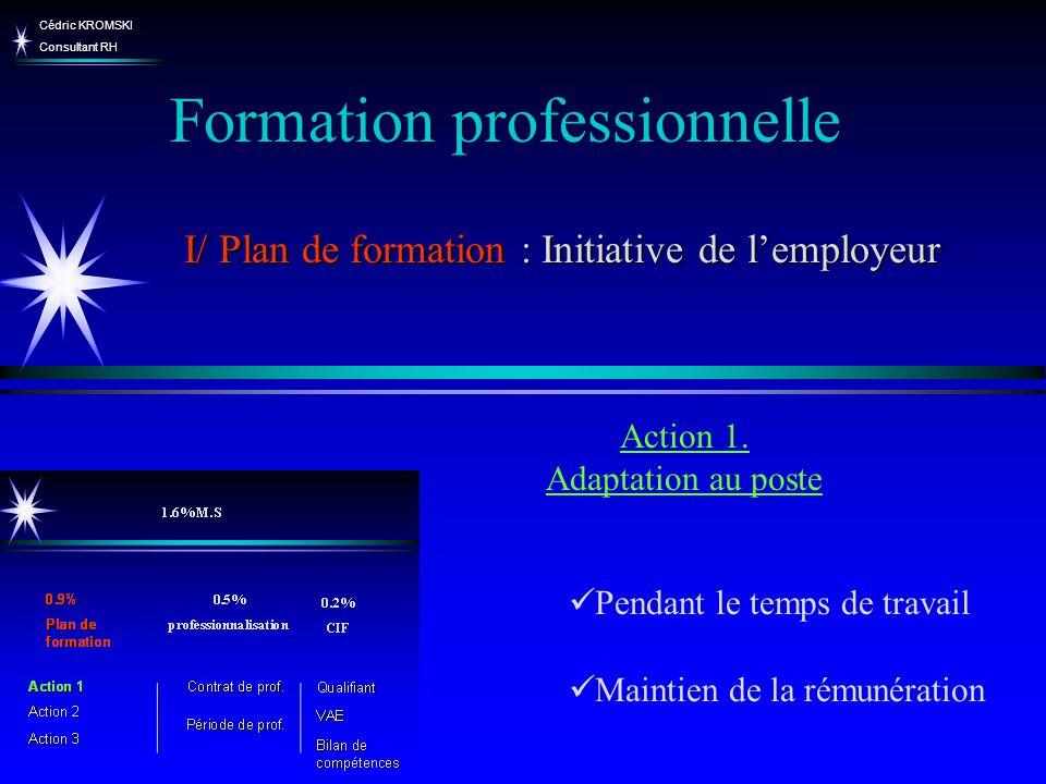 Cédric KROMSKI Consultant RH Formation professionnelle I/ Plan de formation : Initiative de lemployeur Pendant le temps de travail Maintien de la rému