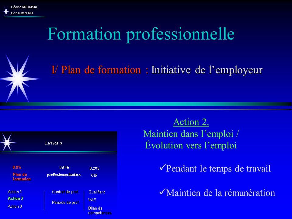 Cédric KROMSKI Consultant RH Pendant le temps de travail Maintien de la rémunération Action 2. Maintien dans lemploi / Évolution vers lemploi Formatio