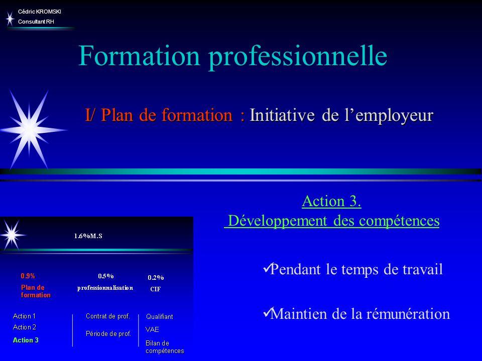 Cédric KROMSKI Consultant RH Pendant le temps de travail Maintien de la rémunération Action 3. Développement des compétences Formation professionnelle