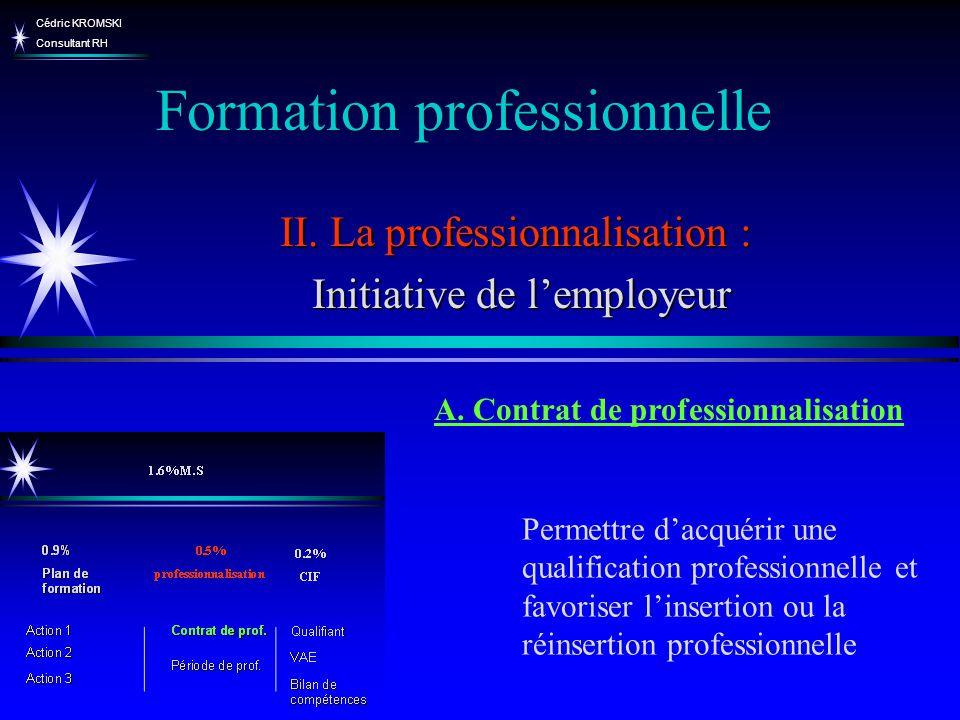 Cédric KROMSKI Consultant RH Formation professionnelle II. La professionnalisation : Initiative de lemployeur Initiative de lemployeur Permettre dacqu