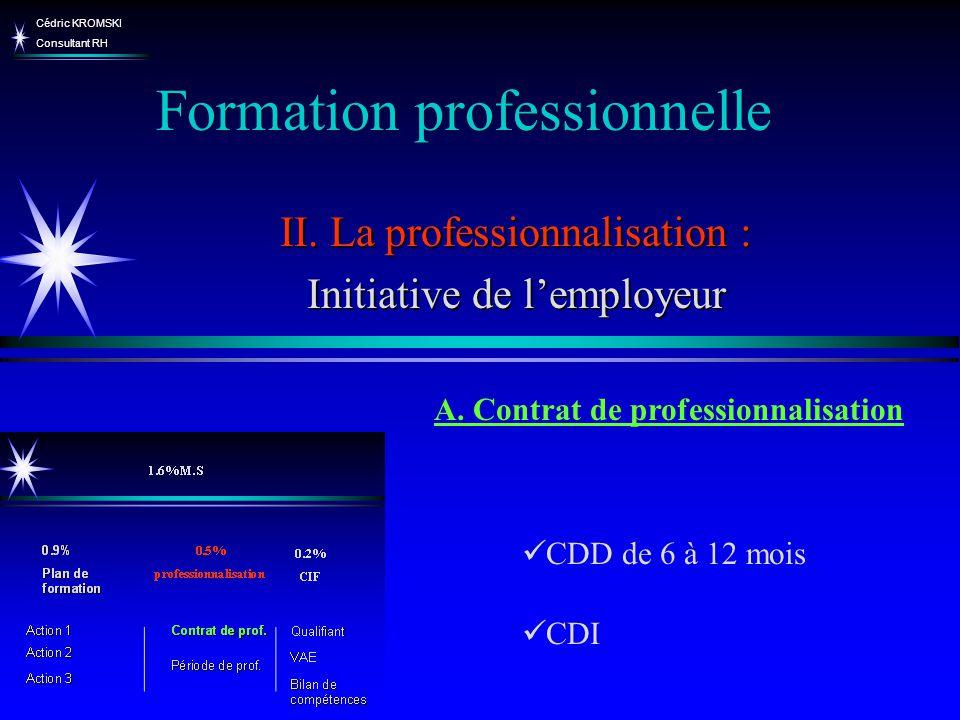 Cédric KROMSKI Consultant RH Formation professionnelle II. La professionnalisation : Initiative de lemployeur CDD de 6 à 12 mois CDI A. Contrat de pro