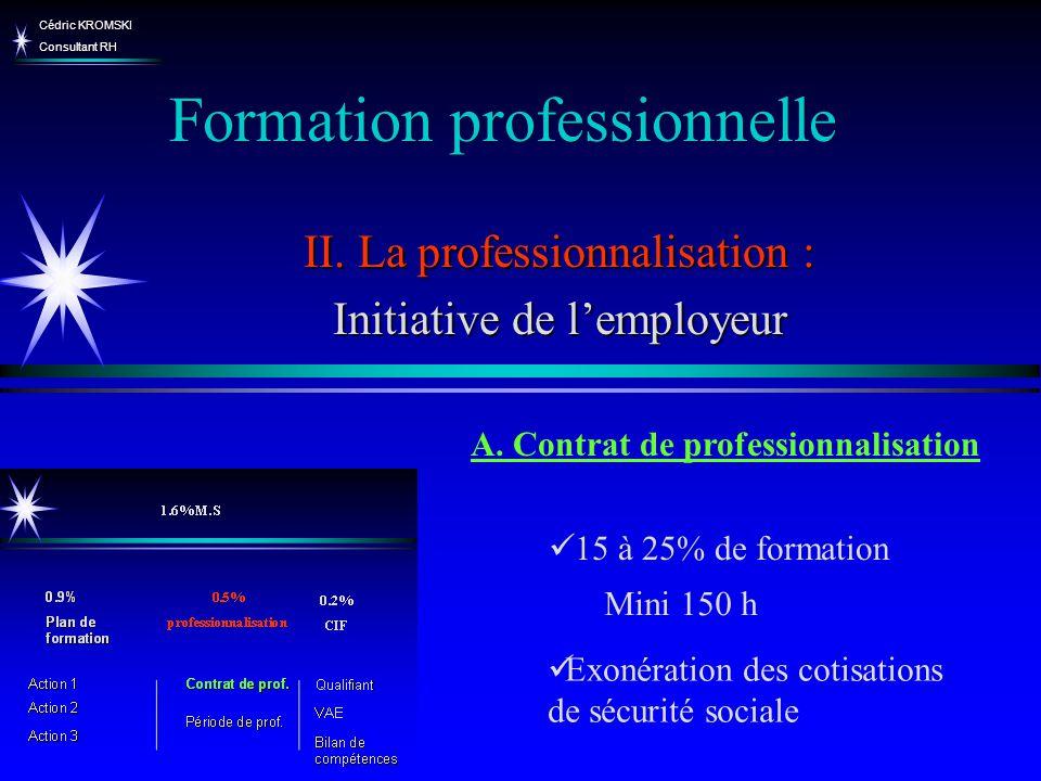 Cédric KROMSKI Consultant RH Formation professionnelle II. La professionnalisation : Initiative de lemployeur A. Contrat de professionnalisation 15 à