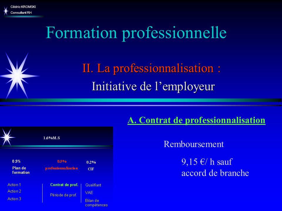 Cédric KROMSKI Consultant RH Formation professionnelle II. La professionnalisation : Initiative de lemployeur Initiative de lemployeur A. Contrat de p