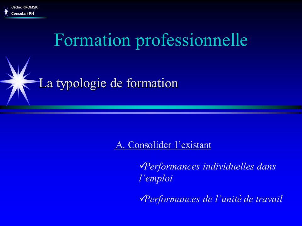 Cédric KROMSKI Consultant RH Formation professionnelle La typologie de formation A. Consolider lexistant Performances individuelles dans lemploi Perfo