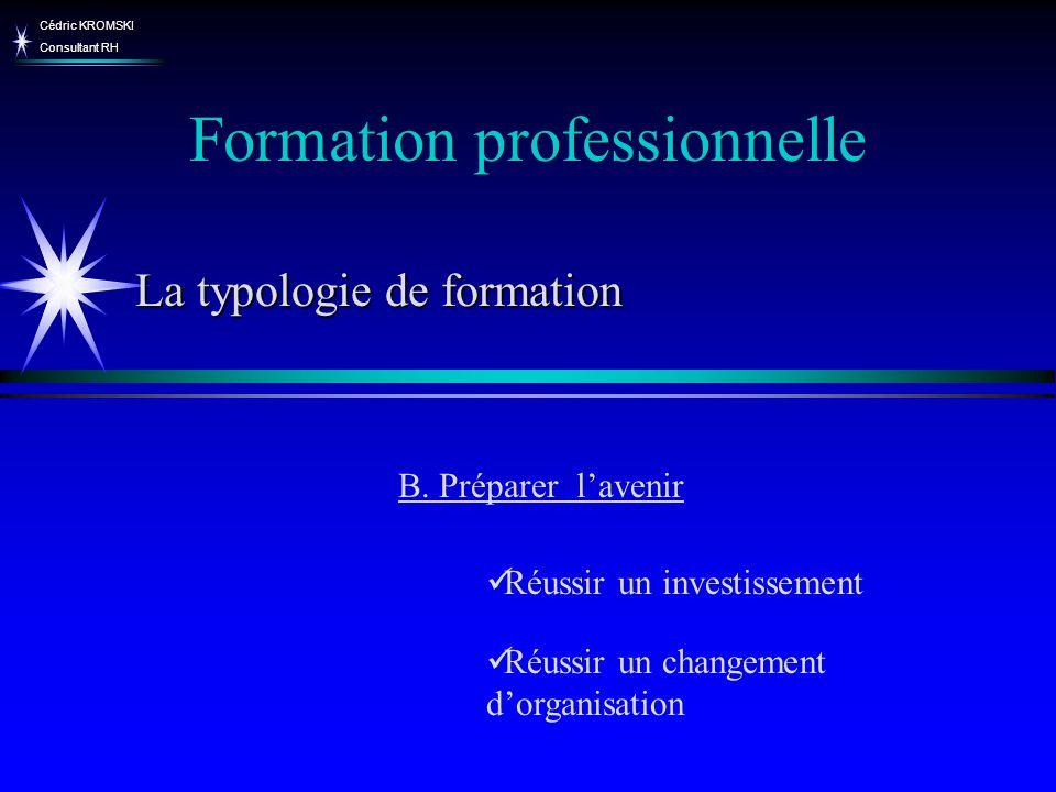 Cédric KROMSKI Consultant RH Favoriser lévolution des métiers Faire évoluer la structure de la qualification Formation professionnelle B.