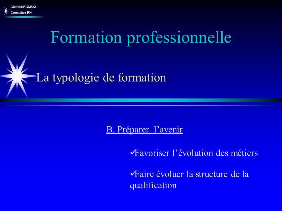 Cédric KROMSKI Consultant RH Favoriser lévolution des métiers Faire évoluer la structure de la qualification Formation professionnelle B. Préparer lav