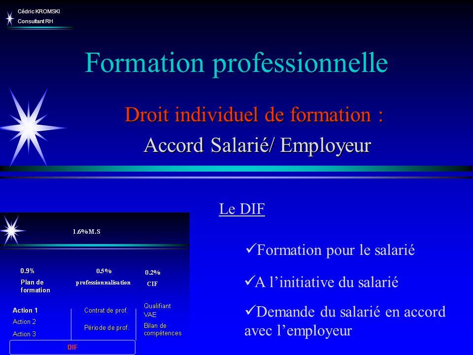 Cédric KROMSKI Consultant RH Formation professionnelle A linitiative du salarié Droit individuel de formation : Accord Salarié/ Employeur Accord Salar