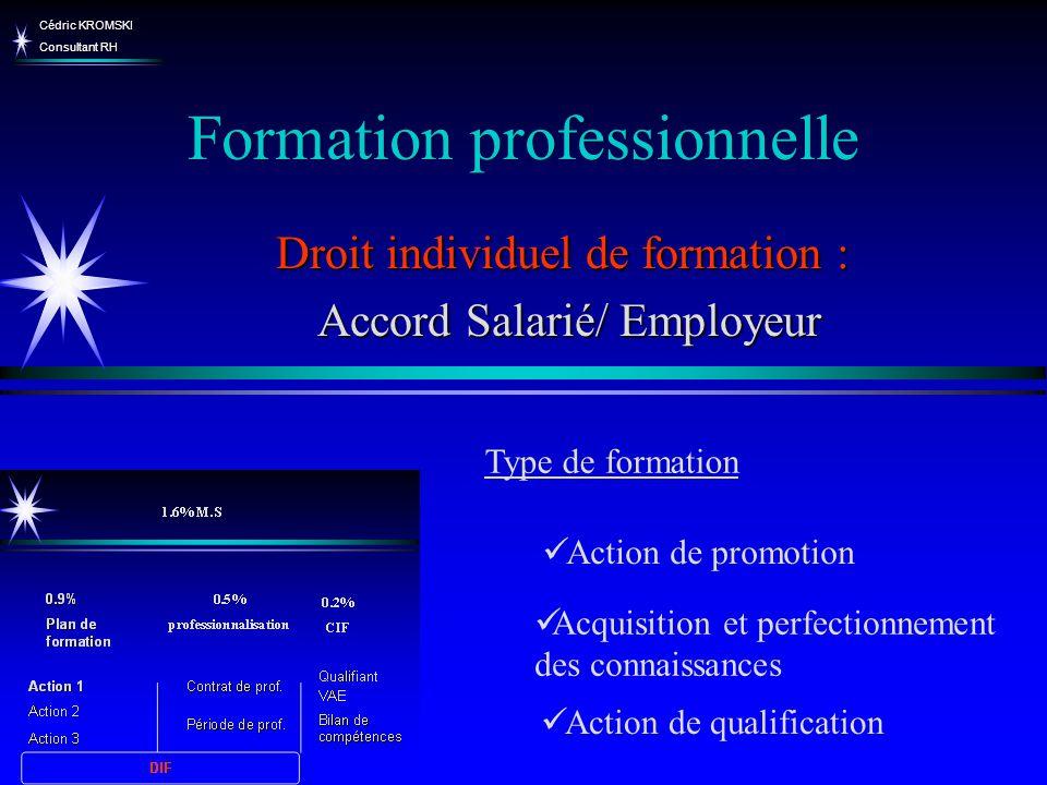 Cédric KROMSKI Consultant RH Formation professionnelle Acquisition et perfectionnement des connaissances Droit individuel de formation : Accord Salari