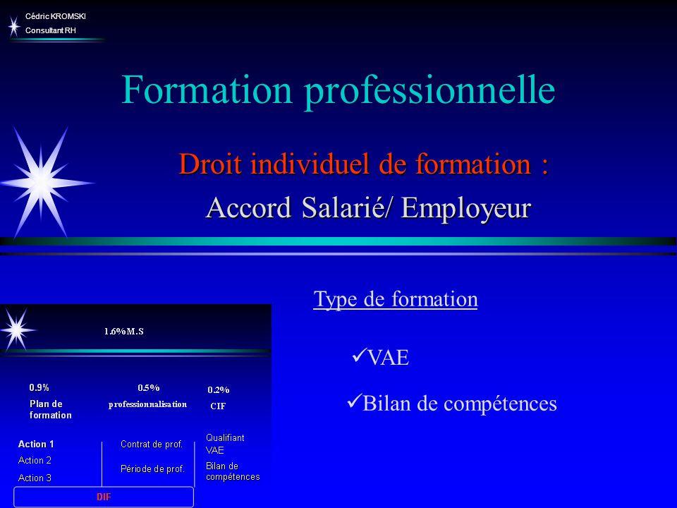 Cédric KROMSKI Consultant RH Formation professionnelle Bilan de compétences Droit individuel de formation : Accord Salarié/ Employeur Accord Salarié/