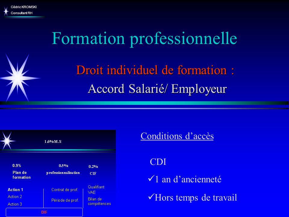 Cédric KROMSKI Consultant RH Formation professionnelle Droit individuel de formation : Accord Salarié/ Employeur Accord Salarié/ Employeur Hors temps