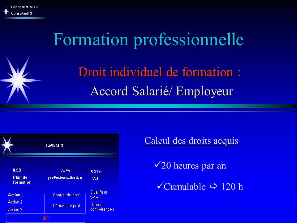 Cédric KROMSKI Consultant RH Formation professionnelle Droit individuel de formation : Accord Salarié/ Employeur Accord Salarié/ Employeur Cumulable 1