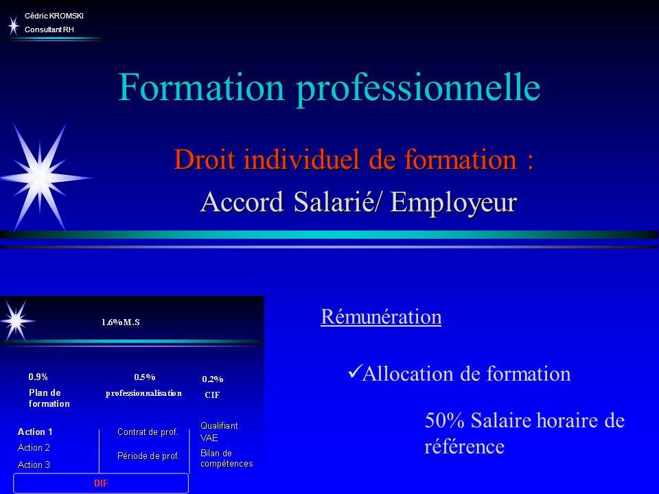Cédric KROMSKI Consultant RH Formation professionnelle Droit individuel de formation : Accord Salarié/ Employeur Accord Salarié/ Employeur Allocation