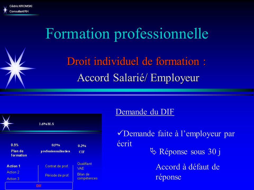 Cédric KROMSKI Consultant RH Formation professionnelle Droit individuel de formation : Accord Salarié/ Employeur Accord Salarié/ Employeur Demande fai
