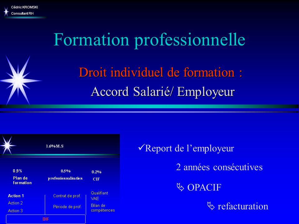 Cédric KROMSKI Consultant RH Formation professionnelle Droit individuel de formation : Accord Salarié/ Employeur Accord Salarié/ Employeur Report de l