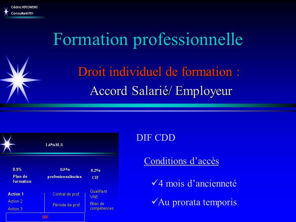Cédric KROMSKI Consultant RH Formation professionnelle Droit individuel de formation : Accord Salarié/ Employeur Accord Salarié/ Employeur DIF CDD Au