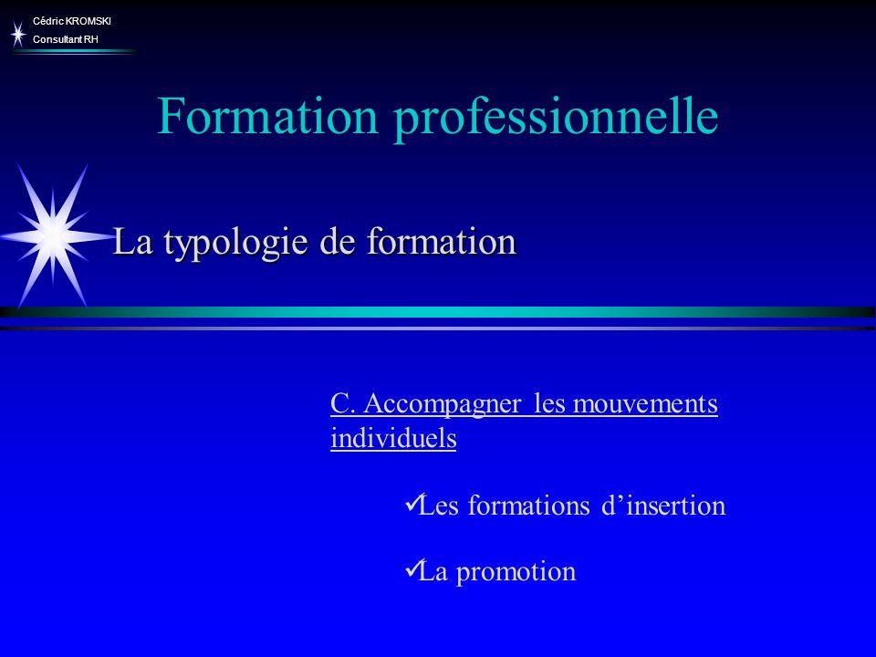 Cédric KROMSKI Consultant RH Formation professionnelle C. Accompagner les mouvements individuels Les formations dinsertion La promotion La typologie d