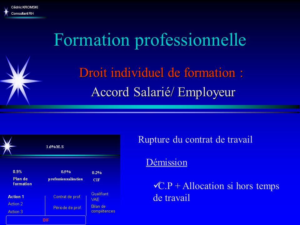 Cédric KROMSKI Consultant RH Formation professionnelle Droit individuel de formation : Accord Salarié/ Employeur Accord Salarié/ Employeur Rupture du