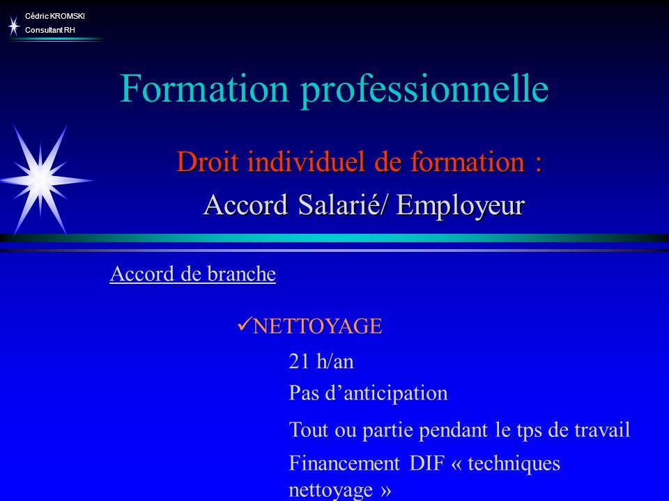 Cédric KROMSKI Consultant RH Formation professionnelle Droit individuel de formation : Accord Salarié/ Employeur Accord Salarié/ Employeur NETTOYAGE A