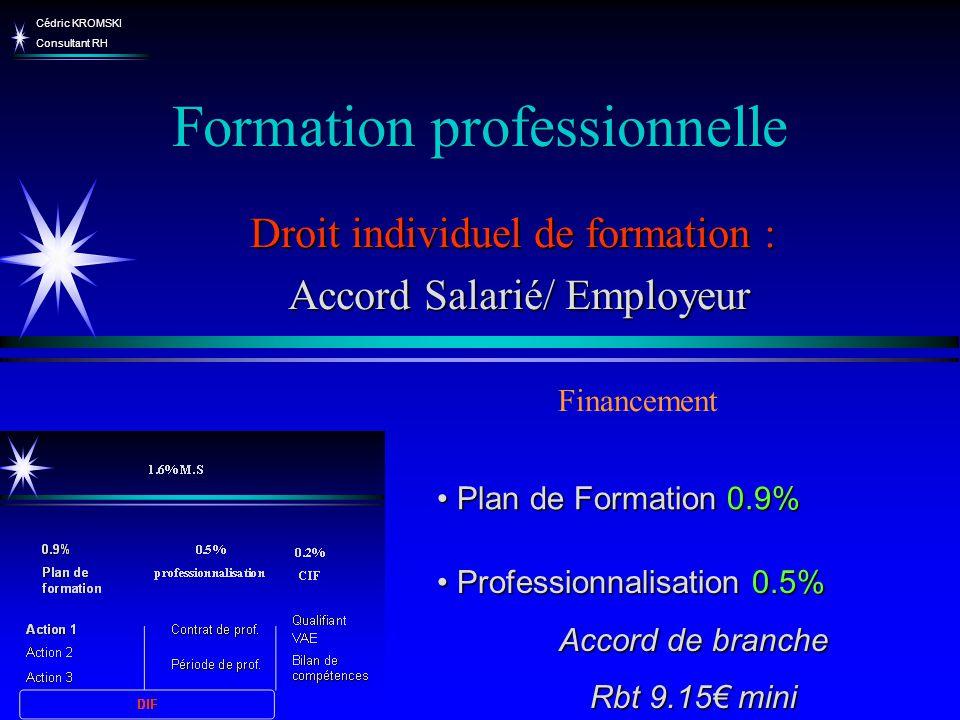 Cédric KROMSKI Consultant RH Formation professionnelle Droit individuel de formation : Accord Salarié/ Employeur Accord Salarié/ Employeur Financement