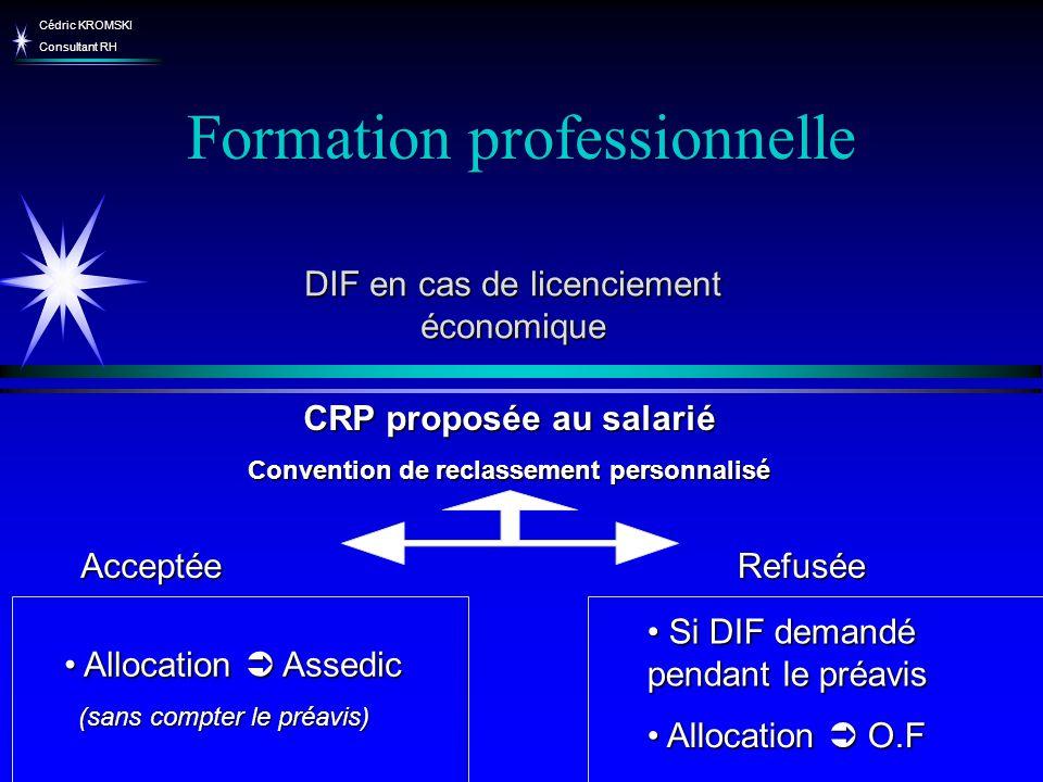 Cédric KROMSKI Consultant RH Formation professionnelle DIF en cas de licenciement économique CRP proposée au salarié Convention de reclassement person