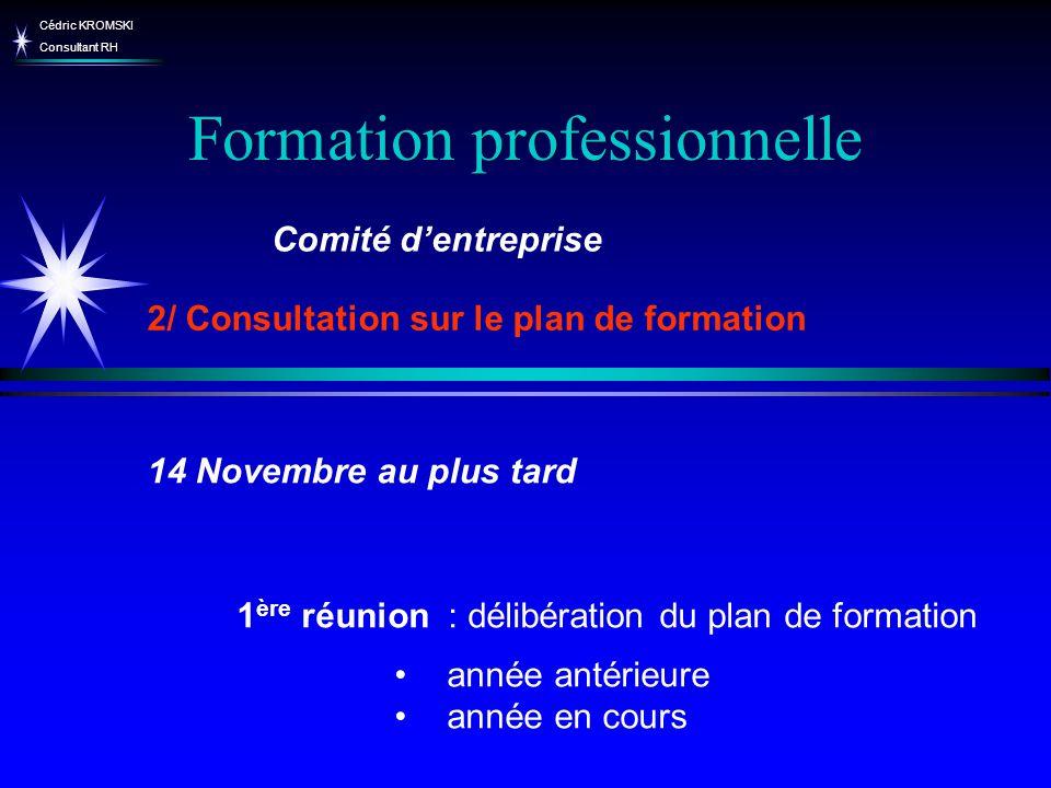 Cédric KROMSKI Consultant RH Formation professionnelle 1 ère réunion : délibération du plan de formation année antérieure année en cours Comité dentre