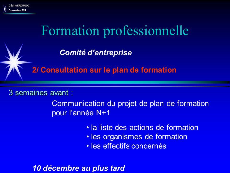 Cédric KROMSKI Consultant RH Formation professionnelle Communication du projet de plan de formation pour lannée N+1 la liste des actions de formation