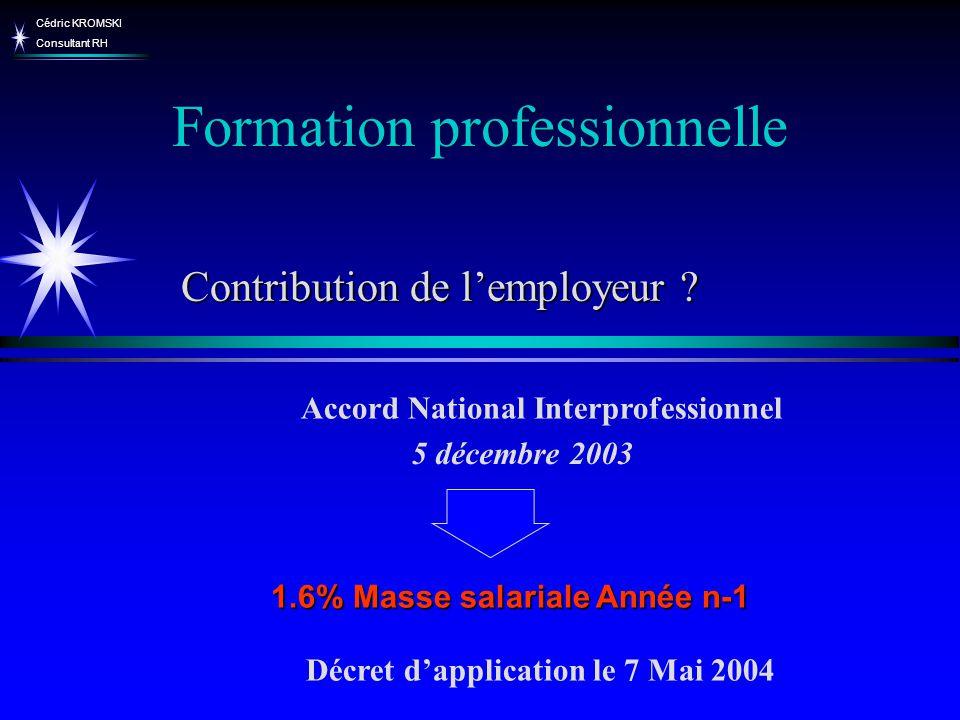 Cédric KROMSKI Consultant RH Formation professionnelle Contribution de lemployeur ? 5 décembre 2003 Accord National Interprofessionnel 1.6% Masse sala