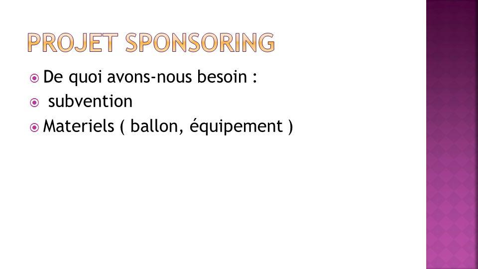 De quoi avons-nous besoin : subvention Materiels ( ballon, équipement )