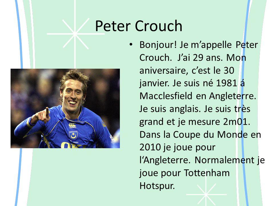 Peter Crouch Bonjour. Je m appelle Peter Crouch. J ai 29 ans.
