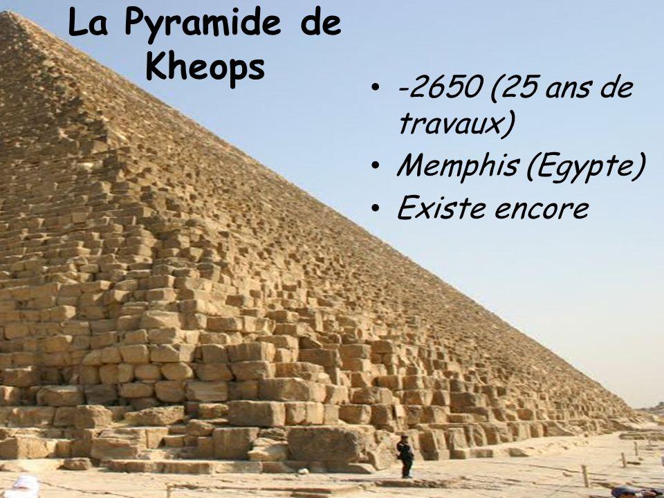 La Pyramide de Kheops -2650 (25 ans de travaux) Memphis (Egypte) Existe encore