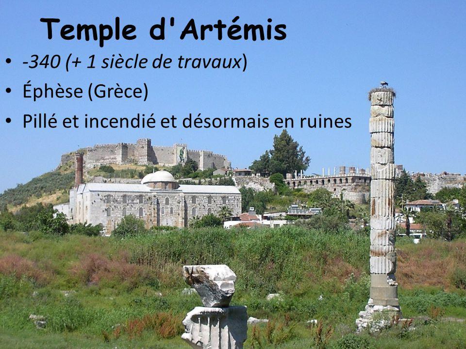 Temple d'Artémis -340 (+ 1 siècle de travaux) Éphèse (Grèce) Pillé et incendié et désormais en ruines