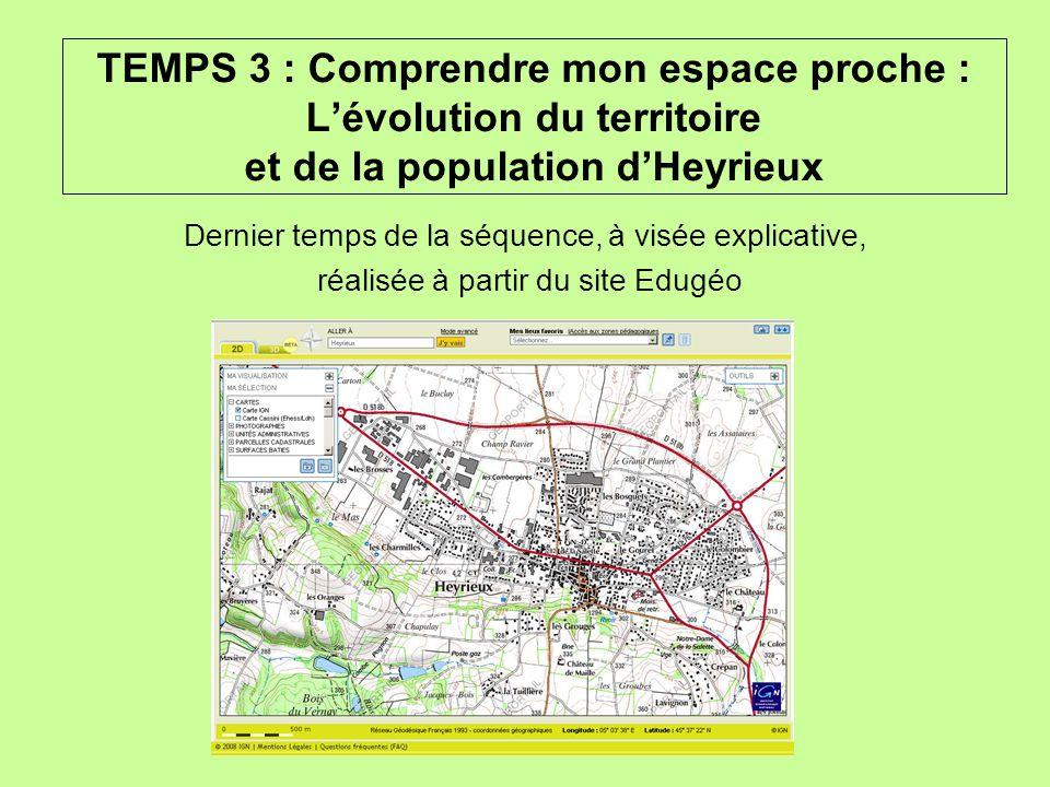 TEMPS 3 : Comprendre mon espace proche : Lévolution du territoire et de la population dHeyrieux Dernier temps de la séquence, à visée explicative, réa