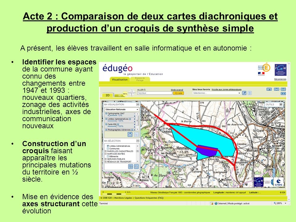 Identifier les espaces de la commune ayant connu des changements entre 1947 et 1993 : nouveaux quartiers, zonage des activités industrielles, axes de