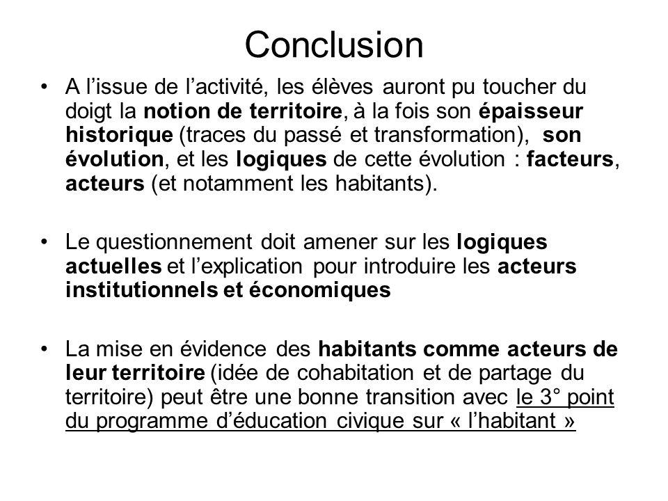 Conclusion A lissue de lactivité, les élèves auront pu toucher du doigt la notion de territoire, à la fois son épaisseur historique (traces du passé e