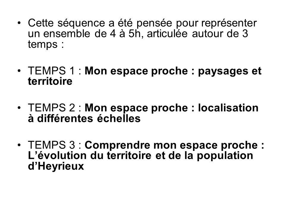 Cette séquence a été pensée pour représenter un ensemble de 4 à 5h, articulée autour de 3 temps : TEMPS 1 : Mon espace proche : paysages et territoire