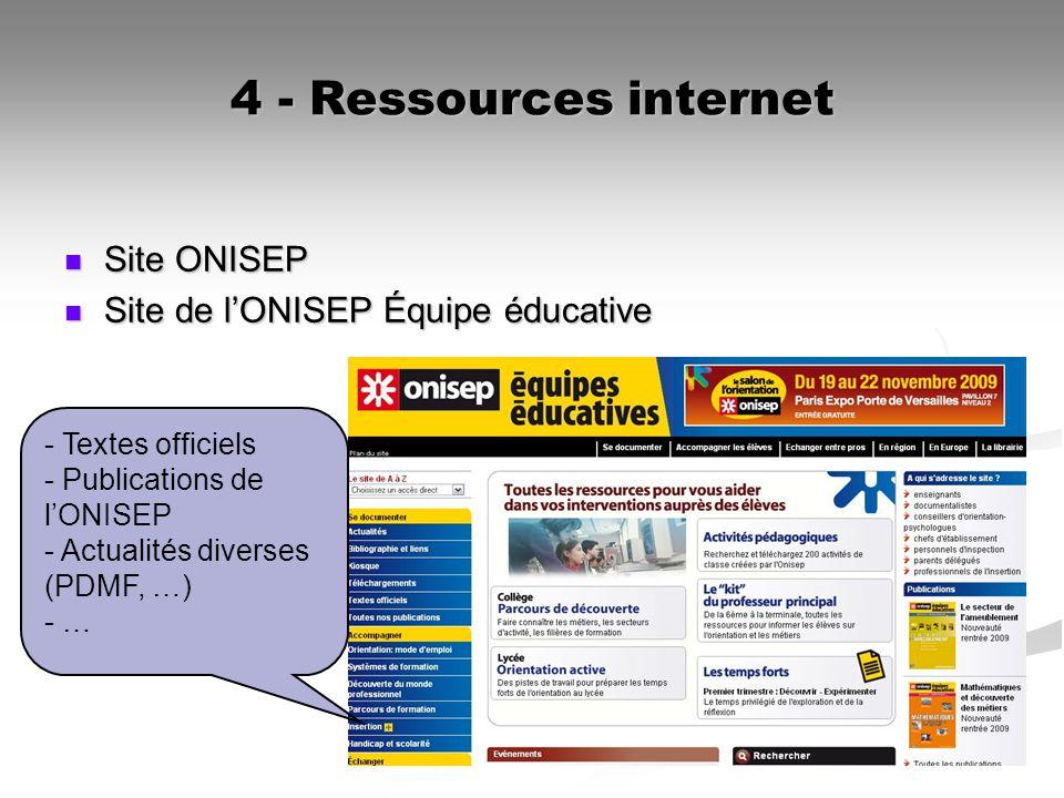 4 - Ressources internet Site ONISEP Site ONISEP Site de lONISEP Équipe éducative Site de lONISEP Équipe éducative - Textes officiels - Publications de